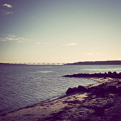 Turning Back Time (helle-belle) Tags: bridge autumn seascape beach strand landscape denmark danmark 2010 breakwater mors efterår sallingsundbroen nykøbingmors refshammer canoneos5dmrkii thesallingsundbridge