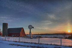 Where's the Rooster? (w4nd3rl0st (InspiredinDesMoines)) Tags: old morning winter red wallpaper house snow jason cold windmill barn rural sunrise canon fence computer spectacular landscape fun photography lowlight screensaver outdoor snowy farm norwalk farming inspired iowa tourist multipleexposure wintersolstice 7d barbedwire nostalgic plugin nik bluehour dslr hdr redbarn desmoines polk stockphotography efx polkcounty 2011 ruralscene ruralscenery 1585 oldandbeautiful lightroom3 bestplaces colorefx inspiredphotography mrachina nikhdrefx wwwinspiredphotographydsmcom w4nd3rl0st