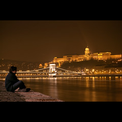 Day Fourty-nine (ODPictures Art Studio LTD - Hungary) Tags: city nightphotography bridge man castle night river downtown hungary view nacht budapest bank chain sit thinking 365 duna danube buda dunkel langzeitbelichtung lnchd citiscape nachtaufnahmen explored