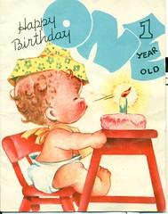 Happy Birthday 1 Year Old (reinap) Tags: happybirthday vintagebirthdaycard 50sbirthdaycard