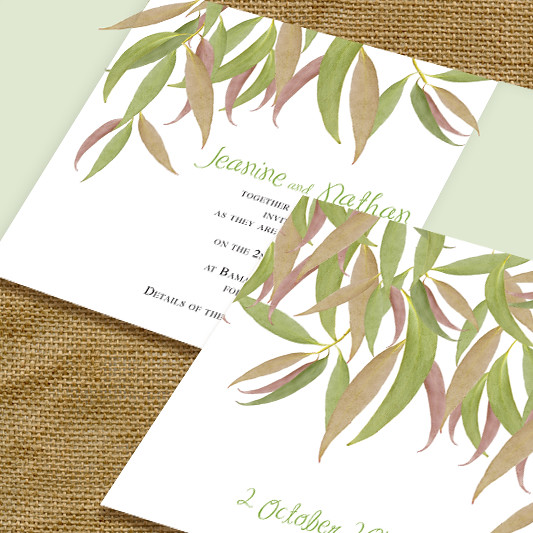 gum leaf flexible wedding invitation