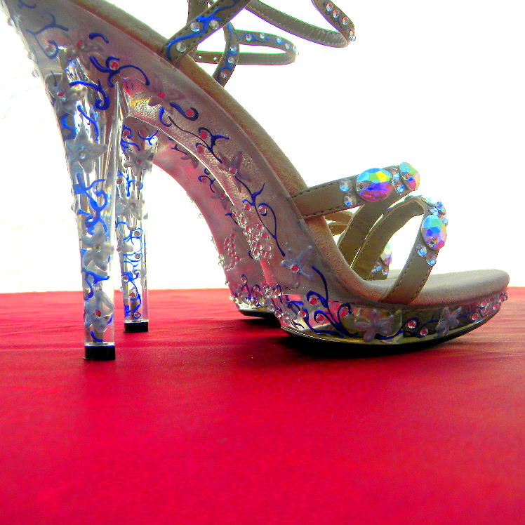 Wedding Shoes Red Carpet Sexy Heels Rhinestones,crystals and painted flowers