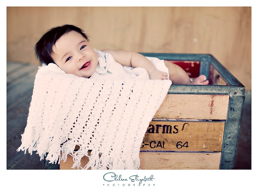 Vintage baby photograph in old farm produce crate