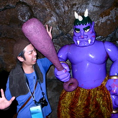 Bonk bonk!  On the head! (troutfactory) Tags: silly japan club digital square friend funny posing demon  wacky ricoh megijima  onigashima  grd2 bonkbonkonthehead  purpledemon