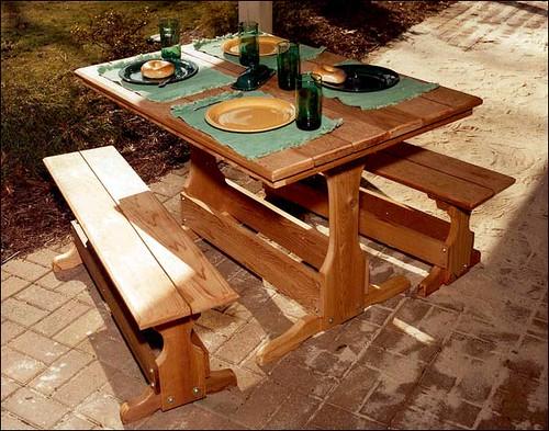 Red Cedar Rectangular Trestle Picnic Table