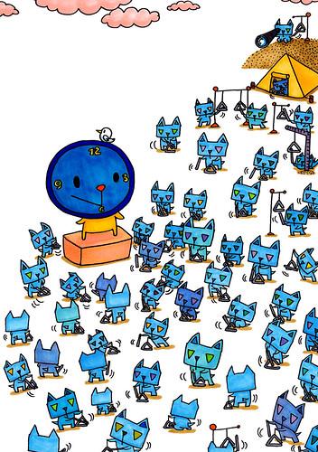 群衆絵_三角うさぎのタイムトライアングル