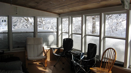 snowy back porch