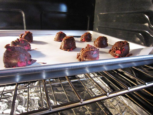 Cherry Chip Cookies in the Oven