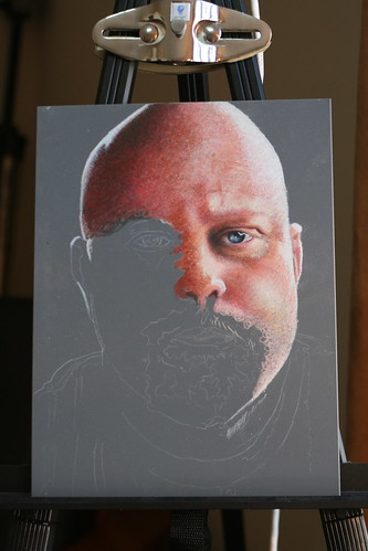 In progress colored pencil drawing entitled Bill