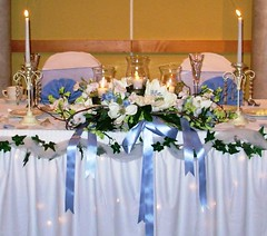 Tiffany's head table (Bellafaye Garden) Tags: flowers wedding decorations roses flower pretty crystals candles decoration event reception romantic ribbon weddings elegant decor flowerarrangement candelabra candelabras weddingdecor candlestands