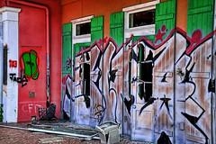 Six Flags - New Orleans, LA (Photography on the Edge) Tags: red urban green abandoned painting graffiti katrina amusement nikon louisiana grafitti neworleans amusementpark sixflags hdr crescentcity bigeasy blighted photomatix d80