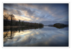 Lake Isle of Inishfree  (Explored! Mar 01 '11 #114) (Ashley Lowry) Tags: trees ireland sunset sky lake water clouds reflections landscape