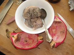 Dragonfruit scooped out
