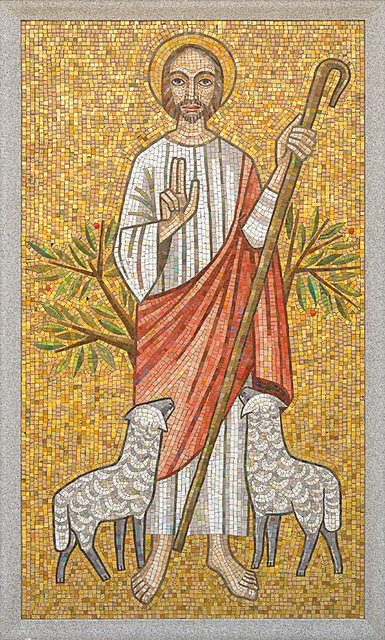 Resurrection Cemetery, in Affton, Missouri, USA - mosaic of Christ the Good Shepherd