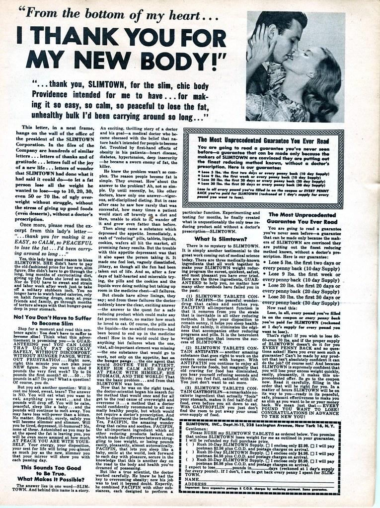 Slimtown diet pills 1958