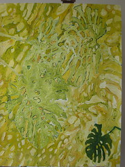 2001.08.09 The Scolding (Julia L. Kay) Tags: sanfrancisco woman white plant abstract green art leaves yellow female painting paper sketch leaf san francisco paint artist acrylic arte julia kunst kay chartreuse dessin peinture foliage jungle tropical tropicalplant split dibujo artista philodendron artiste künstler splitleafphilodendron splitleaf jungleplant juliakay julialkay splitleafphilodendronleaves