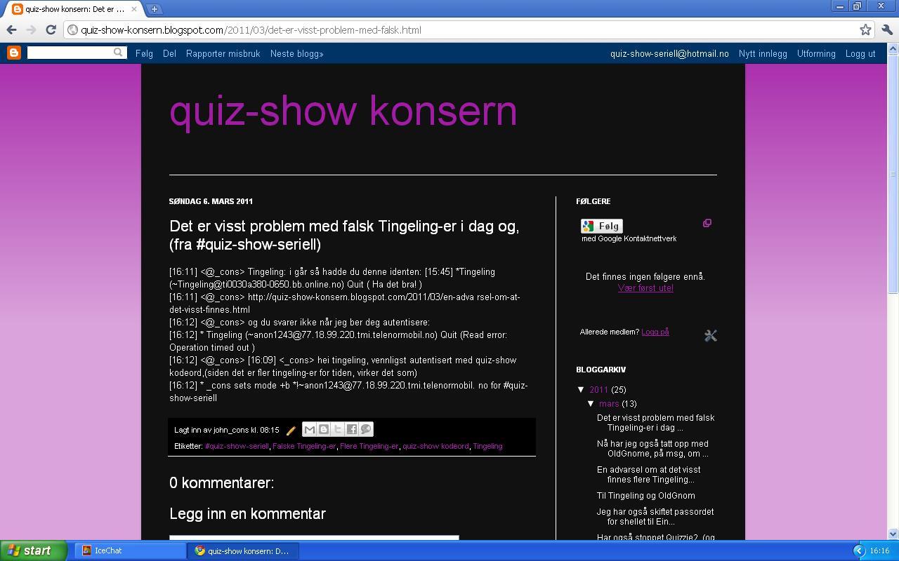 quiz show konsern fler tingelinger