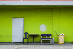Break Time (andrewallenmoore) Tags: door red abstract color green lines trash delete9 table outside delete5 delete2 oakland saturated break lock delete7 cigarette delete8 delete3 can delete delete4 dirty saturation ash tray patch grime simple deletedbythehotboxuncensoredgroup