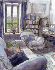 The Living Room at La Mardelle, Brittany (larosecarmine) Tags: painting living mixed brittany media drawing room johnson caroline longere