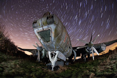 Avro Shackleton (cover of darkness) Tags: old light abandoned grass night plane star paint wing trail derelict shackleton avro