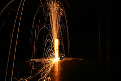 side spin (Hyphy Hands Lincoln) Tags: light art painting fire magic science spinning poi pyro junkie
