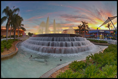 Fountain of Nations (Todd Hurley (Todd_H)) Tags: sunset water fountain epcot fisheye hdr themepark toddh futureworld nikcolorefexpro fountainofnations sigma15mmf28exdg canon5dmark2 thhphotography