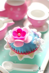 Cupcake Anyone? (Little Cottage Cupcakes) Tags: pink blue flower toy cupcakes felt teapot teacup teaset hotpink littlecottagecupcakes