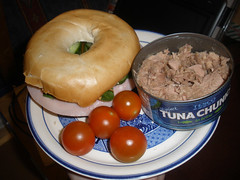 Bagel and a tin of tuna