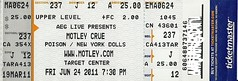 06/24/11 Motley Crue/Poison/New York Dolls @ Minneapolis, MN (Ticket)