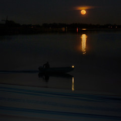 Supermoon helps boatman navigating through the darkness (Bn) Tags: blue light sunset sky holland mill love window nature netherlands windmill skyline stars geotagged star boat earthquake force earth lun