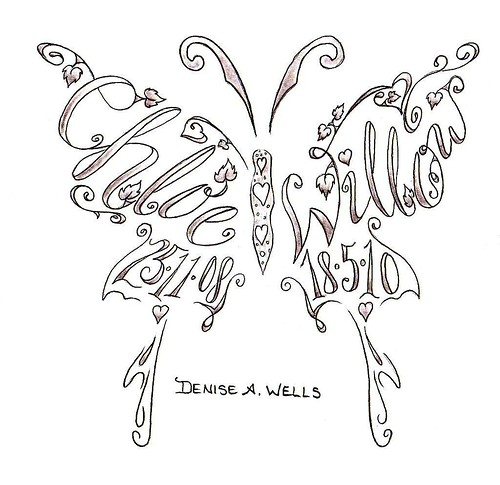 Name tattoos made into a butterfly shape by Denise A. Wells