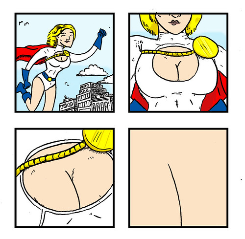 Four Panel Comix:  Every Power Girl Comic Ever