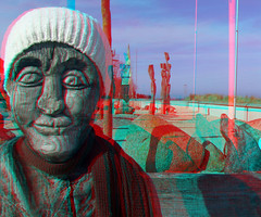 3D red/cyan Anaglyph - Khlungsborn, Holzfigur  close up (3D - red/cyan) Tags: sculpture statue stereoscopic 3d skulptur anaglyph holzfigur khlungsborn redcyan holzskulptur finepixreal3dw1 fujifilmfinepixreal3dw1