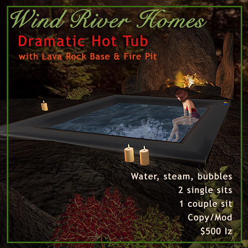 Dramatic Hot Tub with Fire Pit by Teal Freenote