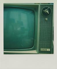 Zenith (DavidVonk) Tags: vintage instant analog film polaroid sx70 sonar impossibleproject television tv tube crt knob dial logo midcenturymodern mcm uhf vhf vacuumtube vacuum shield atomic age