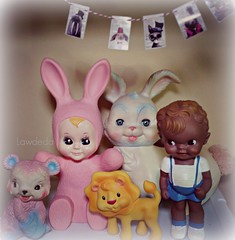 My Happy Place (Lawdeda ) Tags: baby lapin lamp vintage rubber bunny edward mobley sun squeak toys picmonkey