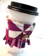 Purple and White Pinwheel Quilt Orphan Block with a Ruffle Coffee Cozy