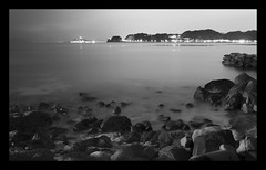 (MLR79) Tags: longexposure blackandwhite seascape japan thanks rocks flickr kamakura confused enoshima needhelp silverefex