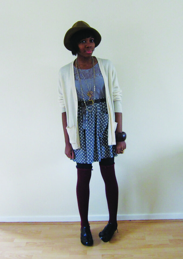 hat polka dot skirt grey lace top