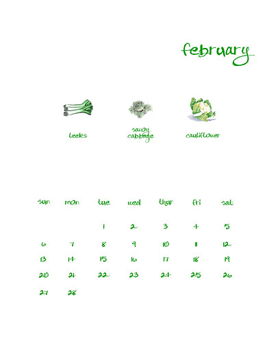 Printable February Calendar with seasonal veggies