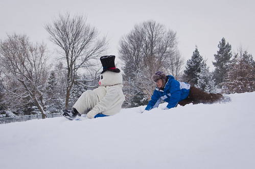 Shiverfest mascot sledding