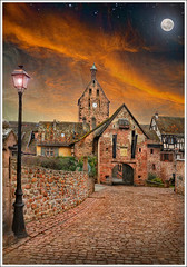 Clair de Lune (Jean-Michel Priaux) Tags: street sky moon france art church wall architecture clouds photoshop painting landscape village place path alsace moonlight porte paysage rue glise pathway anotherworld patrimoine riquewihr routedesvins patrimony priaux mygearandme