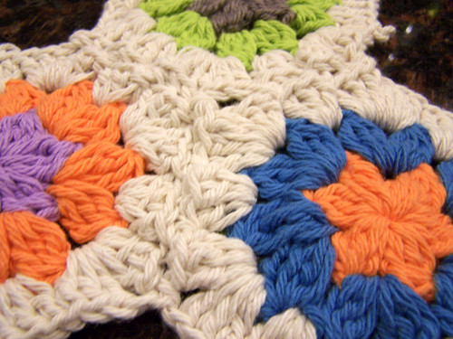 Detail of Three Crocheted Hexagons