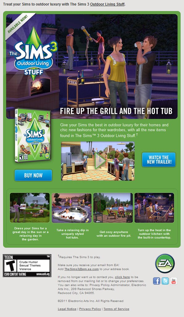 The Sims 3 Newsletter - Outdoor Living Stuff now available