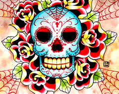 Sugar Skull Painting (Caressa_sparkle) Tags: woman art up rose wall tattoo watercolor painting de dead skull los rainbow colorful punk artist pin day heart zombie marilynmonroe flash fine dia sugar sacred horror muertos prints facepaint carissa pinup