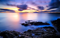 Looking out to Isle of Eigg, Rhum Island and the Isle of Skye. (Mark A Jones (Andreas Jones Photography)) Tags: sunset sea seascape clouds coast scotland nikon rocks isleofskye mallaig lee09gnd d700 seascaspe leebigstopper