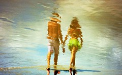 Water Art: A young couple walk hand in hand on a Brazilian beach (peggyhr) Tags: blue friends brazil sky brown white painterly green beach water clouds reflections walking sand couple gallery artistic textures pa chapeau fairplay musictomyeyes wetsand 100faves addictedtoflickr superaplus aplusphoto flippedreflections peggyhr superaphotogroup heartawards artistspotlight platinumheartaward kunstplatzlinternational 100commentgroup doubledragonawards artofimages focusonbeauty flickraward zensationalworld imagesforthelittleprince bestcapturesaoi spartacuseyeswithoutchains zodiacawards elitegalleryaoi artwithoutend lomejordemisamigos nossasvidasnossomundoourlifeourworld floorprimus avpa2platinumgroup avpa1maingroup chariotsofartists royalgrup museumofcontemporaryartonline blinkagainforinterestingimages bestofblinkwinners myfriendsgalleries p1190394ab