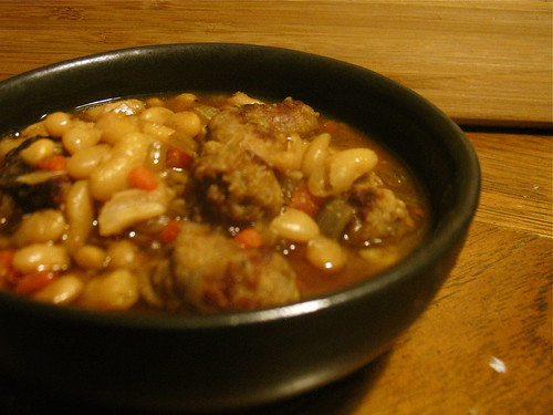 herbed white bean and sausage stew.