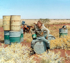 Fuel Dump on Talawana Track - 1974 (Phil Schubert) Tags: lake history expedition windmill trek spring sand desert cattle aircraft dunes hill stock lakes motorcycles australia well route ranges springs yamaha wa outback remote explorers camels motorbikes westernaustralia navigator pilot airstrip dirtbikes canning drovers sandhills csr aircrew spinifex adventurers hallscreek wiluna droving canningstockroute lakedisappointment agbike n26wa