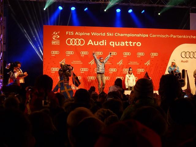 Ski-WM 2011, Tina Maze, Siegerehrung Super-Kombi
